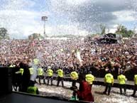 Photo of blacka nd white confetti being used at the Download Festival